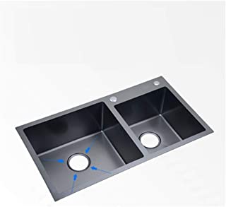 QingH yy Evier De Rangement Noir Fait Main Evier Complet en INOX 0728
