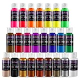 24 Color Washable Paint Set for Kids - Mix of Tempera Fluorescent & Metallic Colors - 2-Ounce Bottles of Bold Non-Toxic...