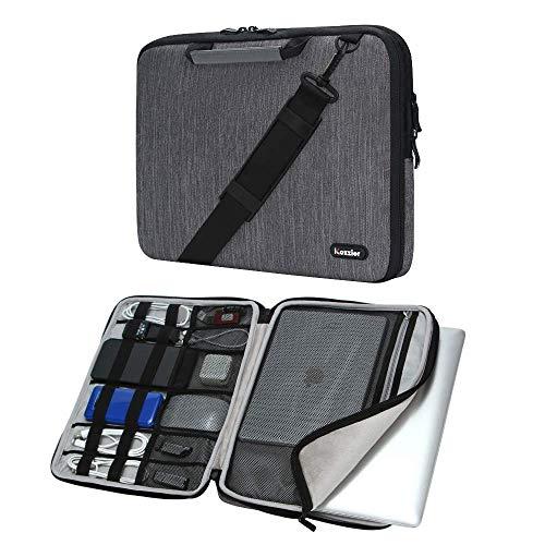iCozzier 15-15.6 Zoll Griff Laptop Aktentasche Umhängetasche Elektronisches Zubehör Organizer Messenger Tragetasche mit Schultergurt - Grau