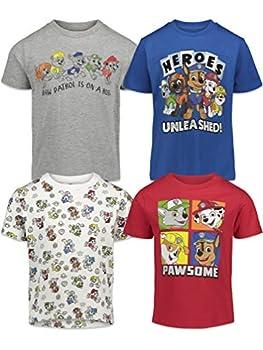 Nickelodeon Paw Patrol Chase Marshall Rocky Rubble Zuma Toddler Boys 4 Pack T-Shirt Multi 5T