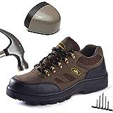 Respirable Zapatos de Seguridad Hombre Punta de Acero Zapatos Ligero Zapatos de Trabajo Construcción Zapatos Anti-Piercing Antideslizantes Botas de Seguridad,Marrón,45