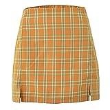 XHXMM Minifalda de Cintura Alta a Cuadros con Cremallera, Ease Into Comfort para Mujer por Encima de la Rodilla Falda Lápiz Elástica Corta,Naranja,L