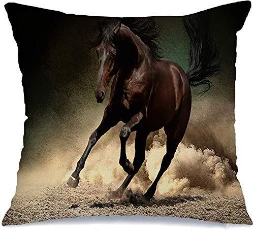 Funda de Cojine Throw CojínLibertad Galope Farm Black Speed Horse Correr Saltar Polvo Arena Corredor Desierto Rápido Tierra Mare Movimiento Fundas para almohada 45X45CM