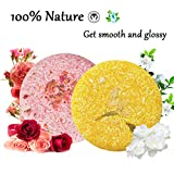 100% Natural Shampoo Bar for Hair 2 Pieces Solid Shampoo Soap for Treated Dry Damaged Hair Vegetarian Plant Essence Helps Stop Hair Loss and Promotes Healthy Hair Growth 4.2oz (Rose & Jasmine)