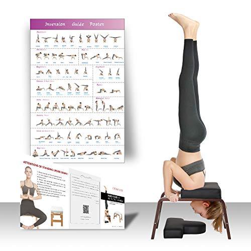 Restrial Life Sedia Yoga Inversion - Sedia di Inversione per Famiglia, Palestra - Cuscinetti in Legno e PU - Allevia la Fatica e costruisci Il Corpo (Noce Nero)