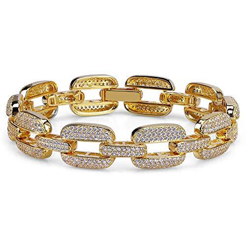 Hip-hop - Pulsera chapada en oro para hombre y mujer, pulsera de cristal y cadena de amor para regalo de cumpleaños para novio, mamá y papá (oro, plata), 123, dorado, Size