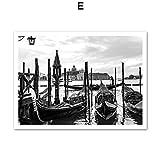Cartel e Impresiones en Blanco y Negro Puente de la Ciudad de Venecia Ferry Paisaje Arte de la Pared Pintura de la Lona Cuadro de la Pared para la Sala de Estar-sin Marco-E_60x80cm