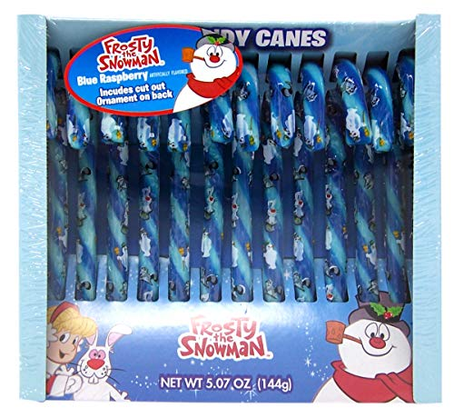 Frosty The Snowman Blue Raspberry Stocking Stuffer Candy Canes 5.07 Ounce