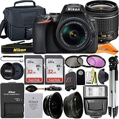 Nikon D5600 DSLR Camera 24.2MP with NIKKOR 18-55mm f/3.5-5.6G VR Lens, 2 Pack SanDisk 32GB Memory Card, Case, Tripod, Filter Kit and ZeeTech Accessory Bundle (Black) from Nikon intl