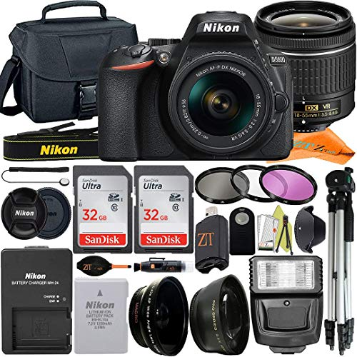 Nikon D5600 DSLR Camera 24.2MP with NIKKOR 18-55mm f/3.5-5.6G VR Lens, 2 Pack SanDisk 32GB Memory Card, Case, Tripod, Filter Kit and ZeeTech Accessory Bundle (Black)