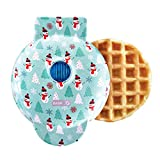 Dash DMW100AT Machine for Individual, Paninis, Hash Browns, & other Mini waffle maker, 4 inch, Holiday Tree - Aqua