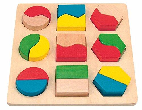 Woody motorisch spel. puzzel, sorteerspel, kleurenspel en vormen in één. Veilige speelgoed. 18-delig