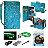 Mstechcorp - for Motorola Moto G 2nd Generation Case, PU Leather Wallet Type Magnet Design Flip Case Cover Credit Card Holder Pouch Case for Motorola Moto G2, Includes Accessories (Blossom Teal)