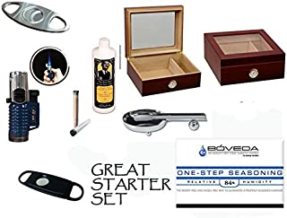 50 Count Cigars Glasstop Cherry Humidor Cutters Lighter Cigar Caddy Gift Set & Calibration Kit