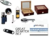 50 Count Cigars Glasstop Cherry Humidor Cutters Lighter Cigar Caddy Gift Set &...