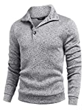 COOFANDY Mens Casual Sweater Shawl Collar Regular fit Winter Thermal Pullover Grey