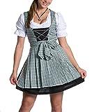 FROHSINN Mini Dirndl - Braun Weiß Rot Grün Blau Oktoberfest Dirndlkleid Mini Dirndl Trachtenkleid (34, Tina)