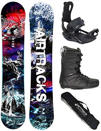 AIRTRACKS Snowboard Set - Tabla Fantasy Wide 148 - Fijaciones Master - Softboots Strong 44 - SB Bag