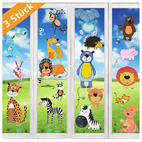 Wimaha Fensterbild Tiere Fensterfolien Fenstersticker für Wohnzimmer Schlafzimmer Kinderzimmer,30x40cm