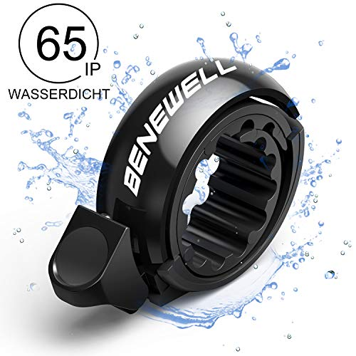Benewell Fahrradklingel, größer Fahrradglocke für Alle Fahrrad Lenker, Q Bell Radfahren Fahrrad Glocke MTB Mountainbike Alarm Horn Ring, für 22.2-23mm Lenker (Schwarz)