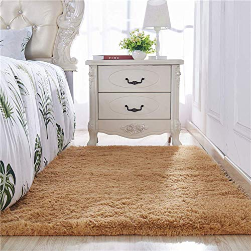 HIGHKAS Shaggy Rug,Fluffy Area Rugs,Soft Carpet Non-Slip Floor mats Living Room Bedroom Floor Carpet Safe for Hardwood Floors-Caki 63x91inch(160x230cm)