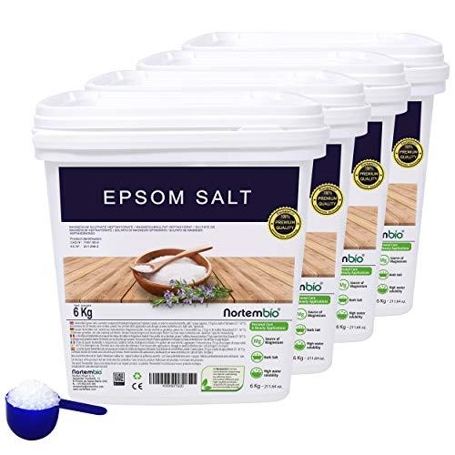 Epsom Salz NortemBio 4x6 Kg. Konzentrierte Magnesiumquelle, 100% Natürliches Salz. Bad und Körperpflege. E-Book Inklusiv.