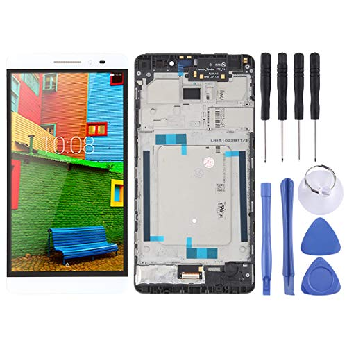Zhangli Mobile Phone LCD Screen LCD Screen and Digitizer Full Assembly with Frame for Lenovo PHAB Plus PB1-770 PB1-770N PB1-770M (Black) LCD Screen (Color : White)