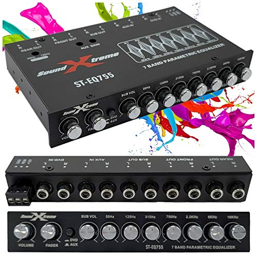 SoundXtreme ST-EQ755 1/2 Din 7 Band Car Audio Parametric Equalizer EQ with Front, Rear + Sub Output 8 Volt RMS Three Stereo RCA Output Built-in Input AUX / DVD Select Switch