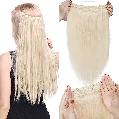 TESS Haarteile Echthaar Extensions 1 Tresse Doppelt Dicke Draht komplette Haarverlängerung guenstig Haar Extensions Glatt 16