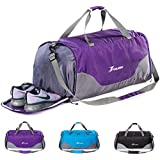 70L Foldable Travel Duffel Bag With Shoe Compartment Sports Gym Bag Dry-Wet Seperation Lightweight Weekender Bag for Men Women Purple