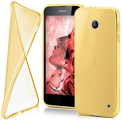 MoEx® Funda [Transparente] Compatible con Nokia Lumia 630 | Ultrafina y Antideslizante - doré