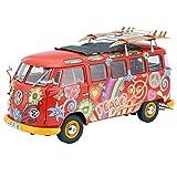 Schuco 450028300 1:18 Escala VW T1 Samba Hippie Modelo Van con Pistas de Techo y Tablas de Surf