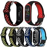 Th-some Bracelet de Remplacement pour Xiaomi Mi Band 4/ 3, 6PCS Bracelet de Rechange en Silicone pour Bracelet Compatible avec Mi Band 4/ 3, Bracelet de sport Respirant, Matériau TPU, imperméable