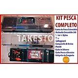 takestop 013 - Kit de caña de Pescar Extensible con Carrete y 200 anzuelos flotantes de Silicona
