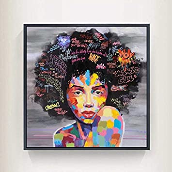 Peinture sur toile int/érieure Pas De Cadre Graffiti Wall Street Art Abstrait Moderne Africaine Femmes Portrait Peinture Toile Imprime For Le Salon WWJYB0101 Color : 2-50cmx50cm