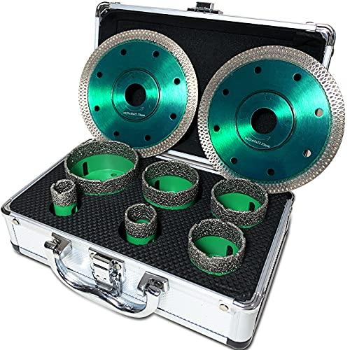 BotaBay Juego de brocas de diamante (6 piezas, 20, 25, 40, 45, 50, 68 mm, con 2 discos de corte de diamante y maletín para granito fino y azulejos, M14)