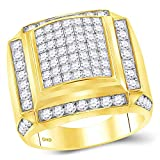 Solid 10k Yellow Gold Men's Princess Cut Diamond Square Cluster Engagement Wedding Anniversary Ring Band 2-7/8 Ct. - Size 10