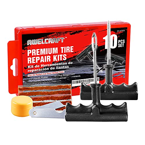 AWELCRAFT Economical Tire Repair Kit to Fix Punctures and Plug Flats, 10-Piece Value Pack, Ideal for Cars, Trucks, Motorcycles, ATV, with Storage case