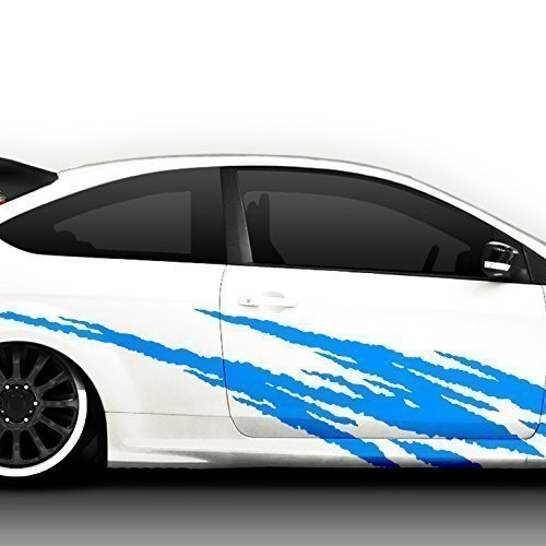 Grandora X7062 2er Set Auto Seitenaufkleber Racingstyle schwarz