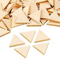 OLYCRAFT 100個 木材チップ 三角形 木製チープ 未完成 未塗装 ウッドパッツ 木材スライス DIY手作り 誕生日 結婚式 パーティー 撮影用 小物 装飾用木材チップ 素材 工芸品 32mm 厚さ5 mm