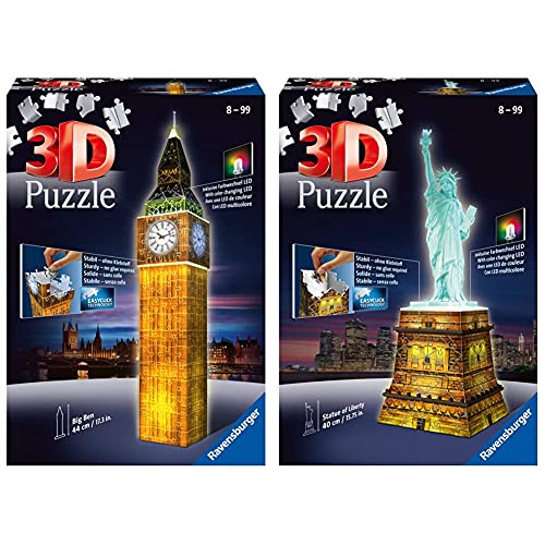 Ravensburger Puzzle 3D, Edición Big Ben (12588 3) + Puzzle Building 3D Night Edition: Estatua De La Libertad (12596), Color, Modelo Surtido