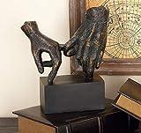 Deco 79 58314 - Estatua de Manos Pinky Swear en Base de Bloque, estatuas de Mano para decoración de Mesa, Regalos para Mejores Amigos, 22,9 x 25,4 cm, Negro y Bronce