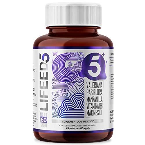 LIFEED SLEEP Valeriana Pasiflora Manzanilla Magnesio Vitamina B6   LF5 Para Dormir 60 Días   LIFEED5 SUEÑO Y DESCANSO   para Dormir e Insomnio   Ingredientes Naturales