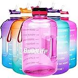 BuildLife Botella de agua motivacional de 3,78 l, boca ancha con pajita y tiempo marcado para beber...