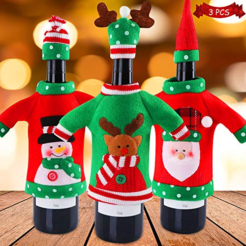 VZATT Christmas Snowman Wine Bottle Cover Bags, 3pcs Unique Christmas Wine Bottle Cover Decorativo Wine Champagne Cover Accesorios