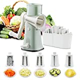 Rotary Cheese Graters Vegetable Slicer-VEKAYA 5 in 1 Manual Round...