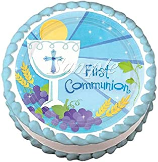 First Communion Blue Edible Frosting Sheet Cake Topper - 7.5