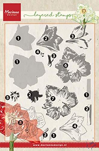 Marianne Design Clear Silikonstempel, Geschichtete Amaryllis, zum Stanzen Bastelarbeiten und Präzision Stamping Papercrafts, Kunststoff, transparente, 125x190