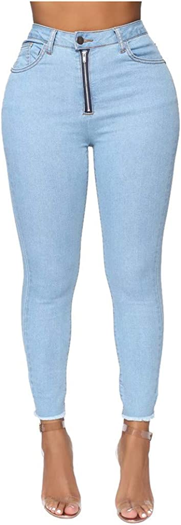 Fashion Womens Casual Pocket High Waist Zip Jeans Denim Harem Pants Trousers(Sky Blue,M)