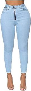 AOGOTO Womens Kardashian Butt Lift Jeans,Tinta unita Pulsante Cerniera Tasca Denim Vitello Pantaloni Lunghezza